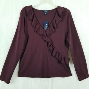 Chaps Sz L Long Sleeve V Neckline Wine 100% Cotton